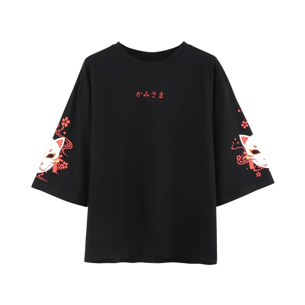 Harajuku Fox Sleeves Lace Back Women T-shirt