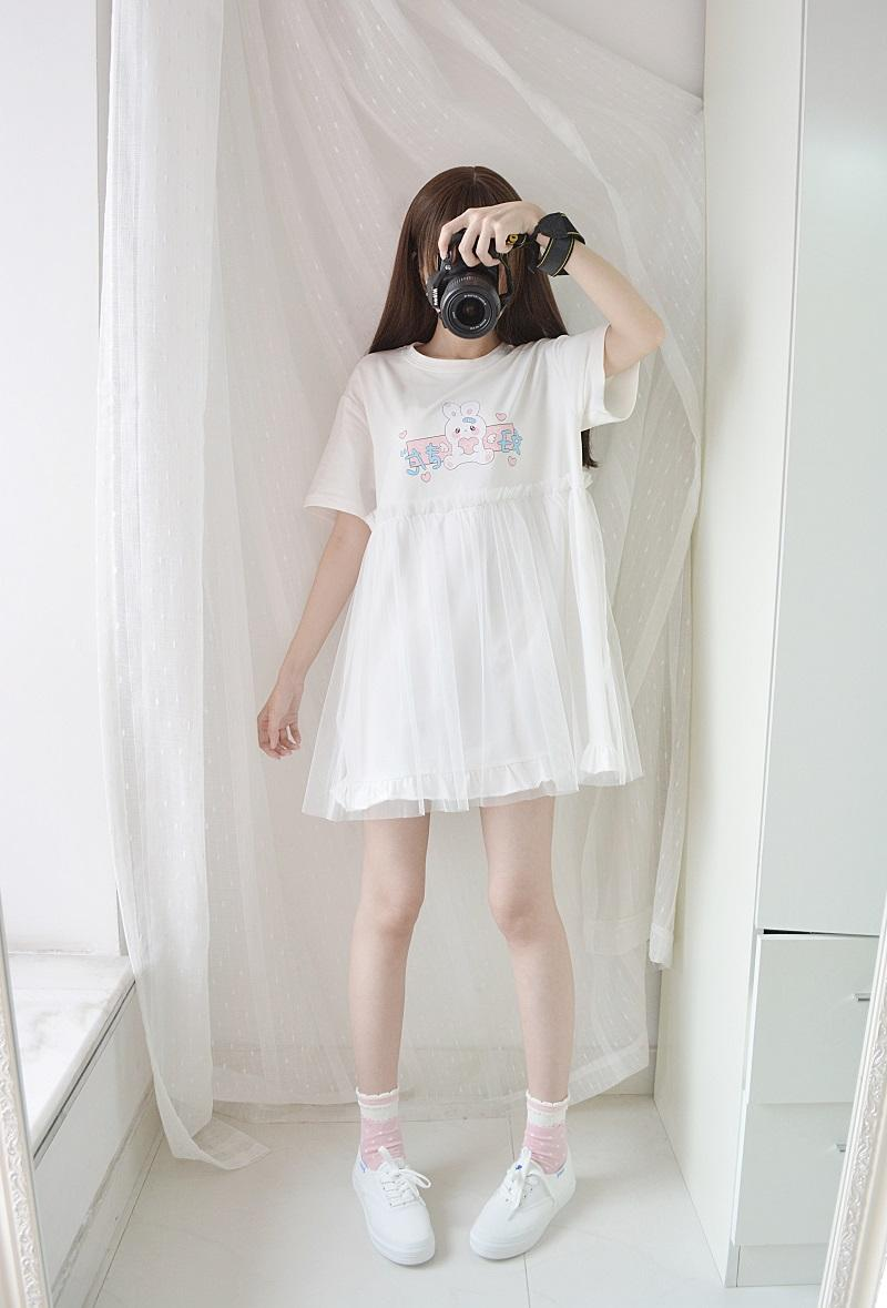 Lovely Girl Rabbit T-shirt Dress