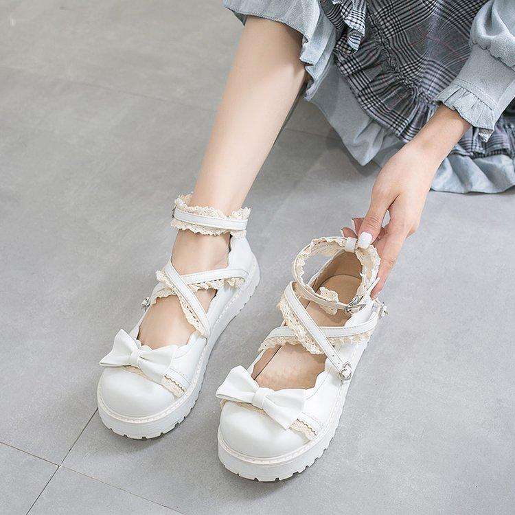 Lolita Lace Bowknot Leather Shoes