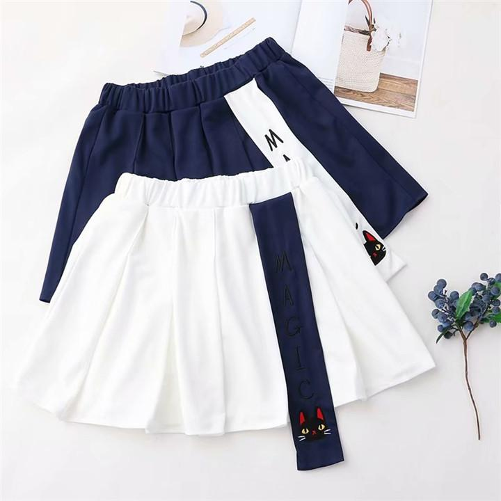 Lovely College Style Cat  Embroidered Pleated Skirt