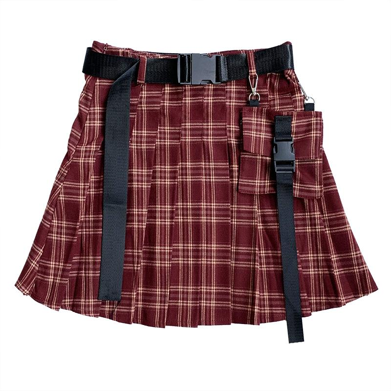Cool Girl Stitching Pocket Pleated Skirt