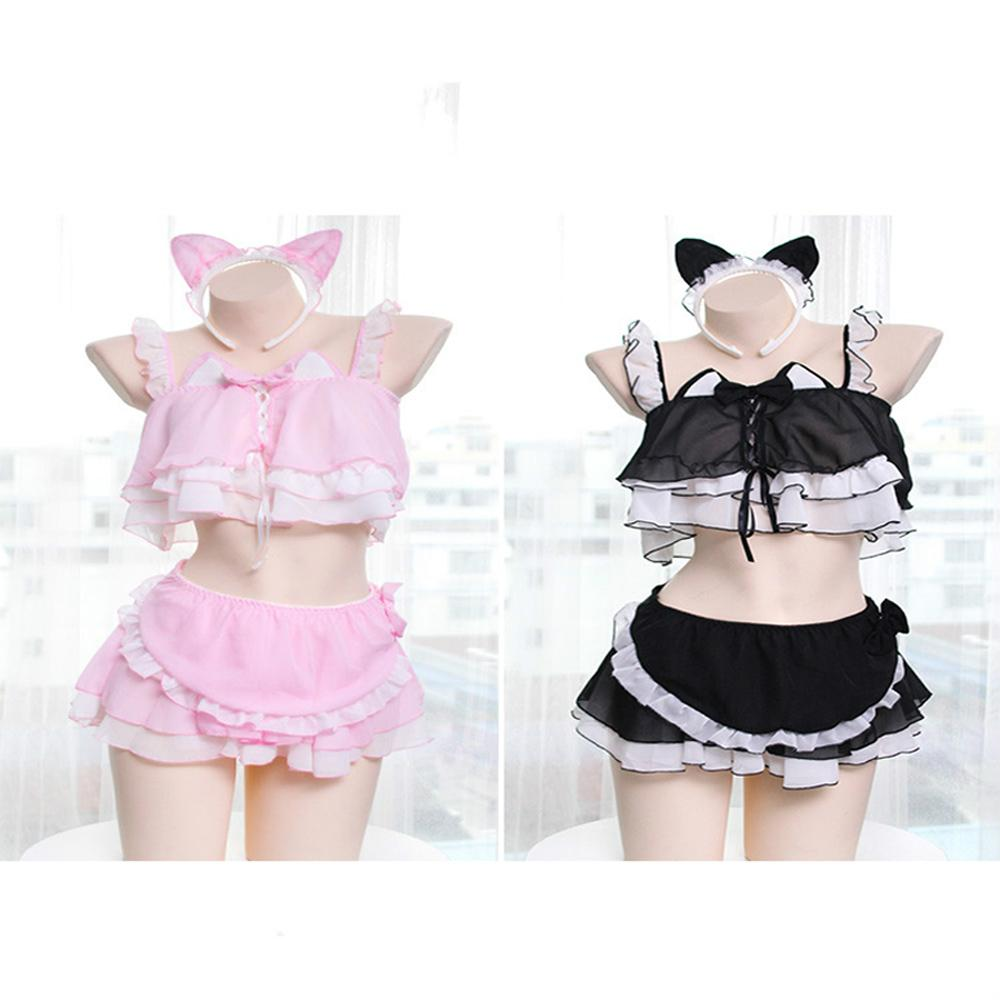 Kawaii Cat Girl Ruffled Pajamas Six Pieces