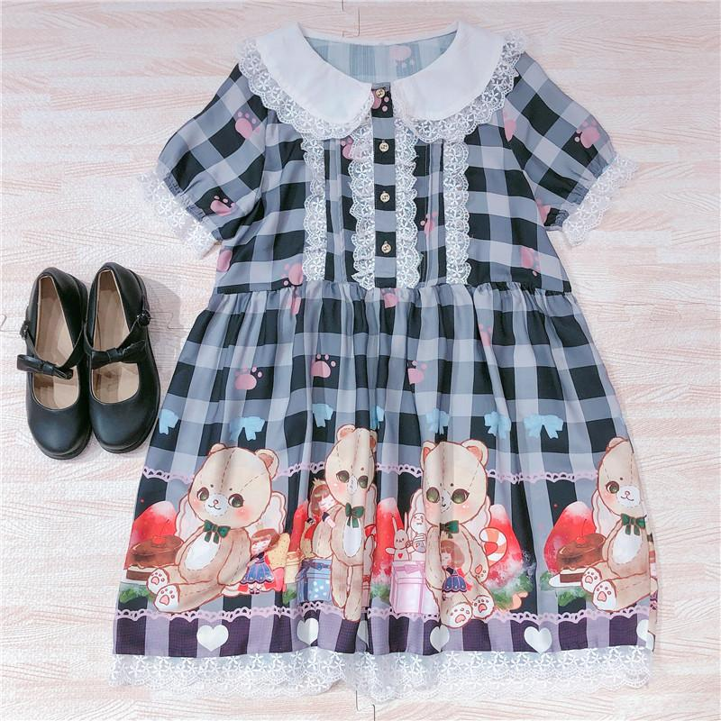 Cute Bear Print Short Sleeve Loli Dress