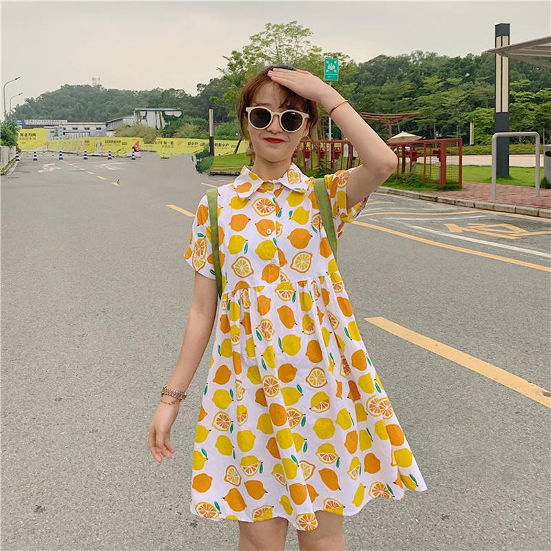 Girls Lemon Print Short Sleeve Doll Dress