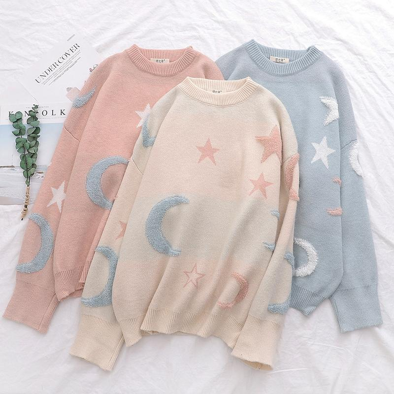 Ladies Moon And Star Pullover  Sweater