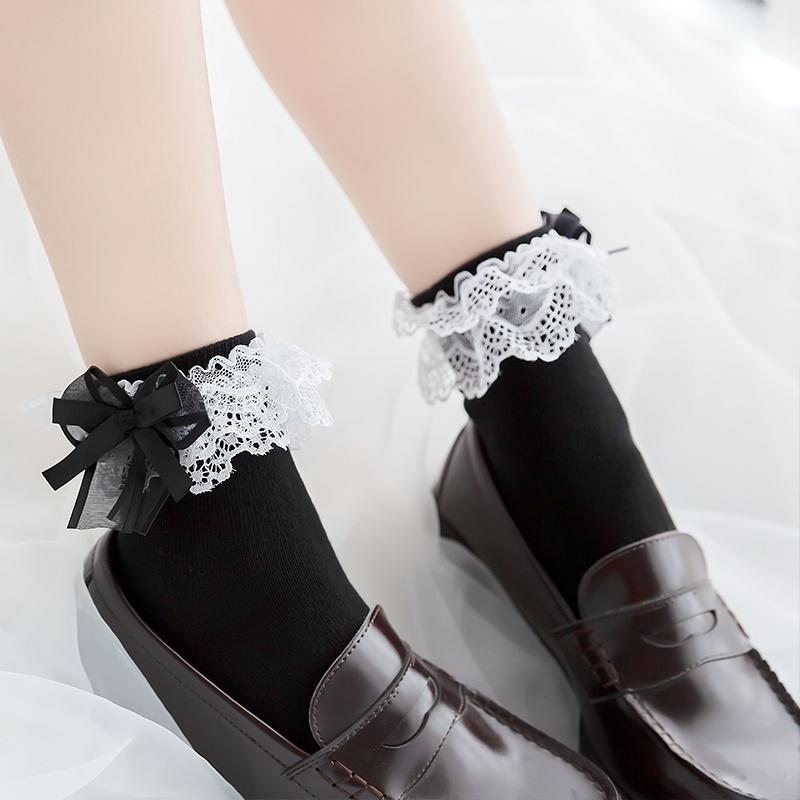 Japanese Style Lace Bow-knotted Cotton  Socks