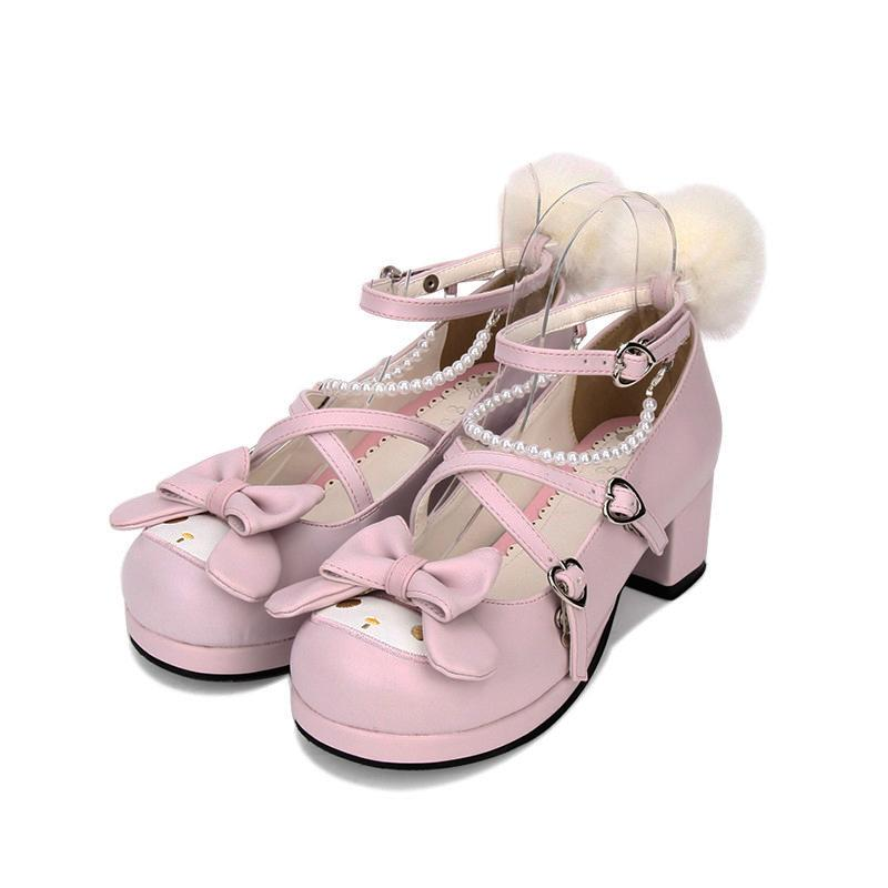 Lolita Bow Cartoon Anime Embroidery Shoes