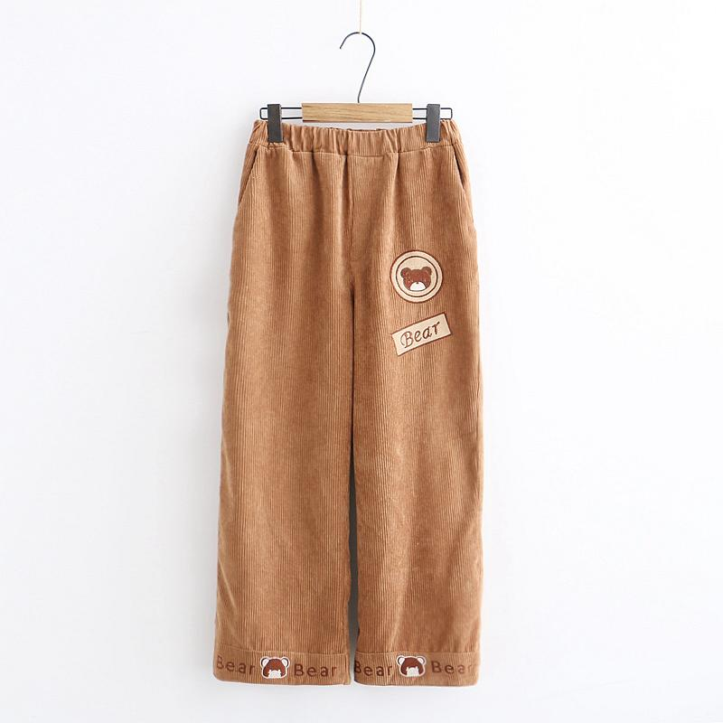 Mori girl Cute Bear Patch Corduroy Loose Trousers