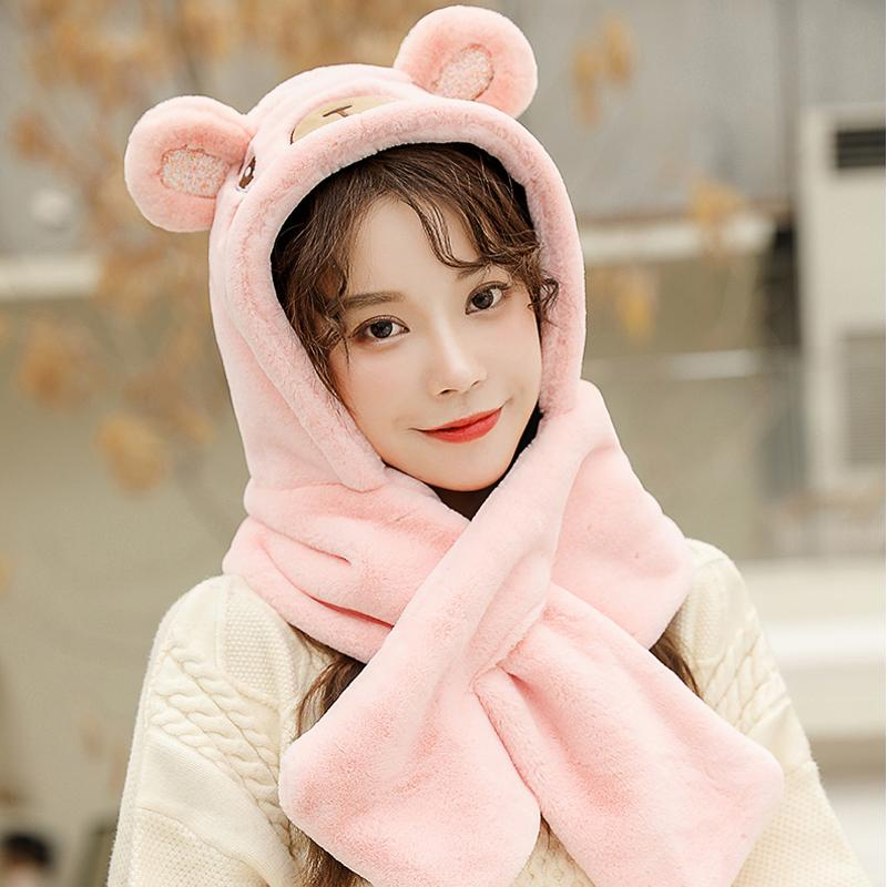 Ladies Kawaii Winter Warm Scarf Earmuffs