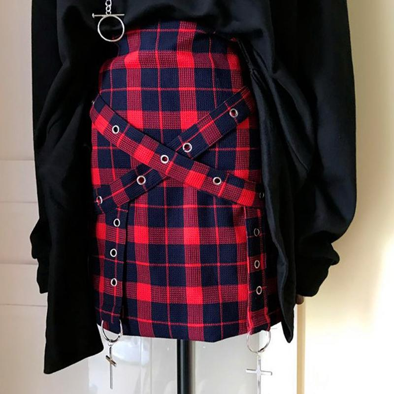 Ladies Retro Plaid Cross Tied High Waist Skirt