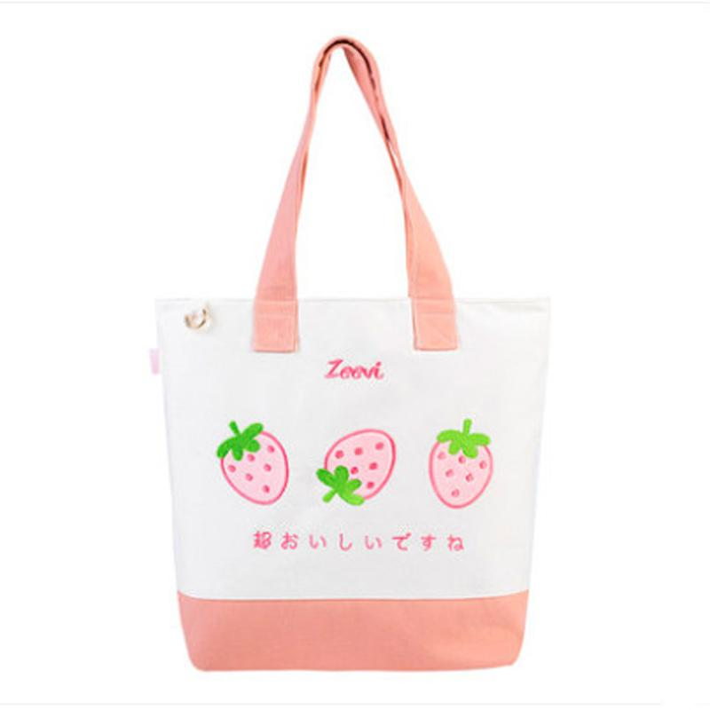 Lovely Strawberry Embroidery Womens Canvas Zipper Handbag