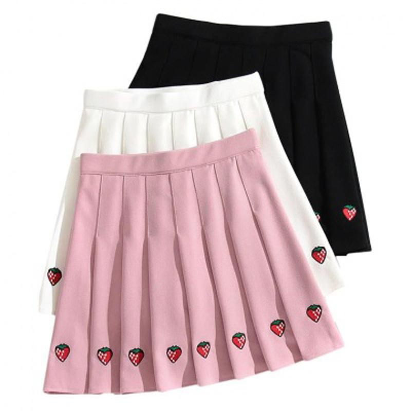 Sweet Girl Steawberry Embroidery Pleated Skirt