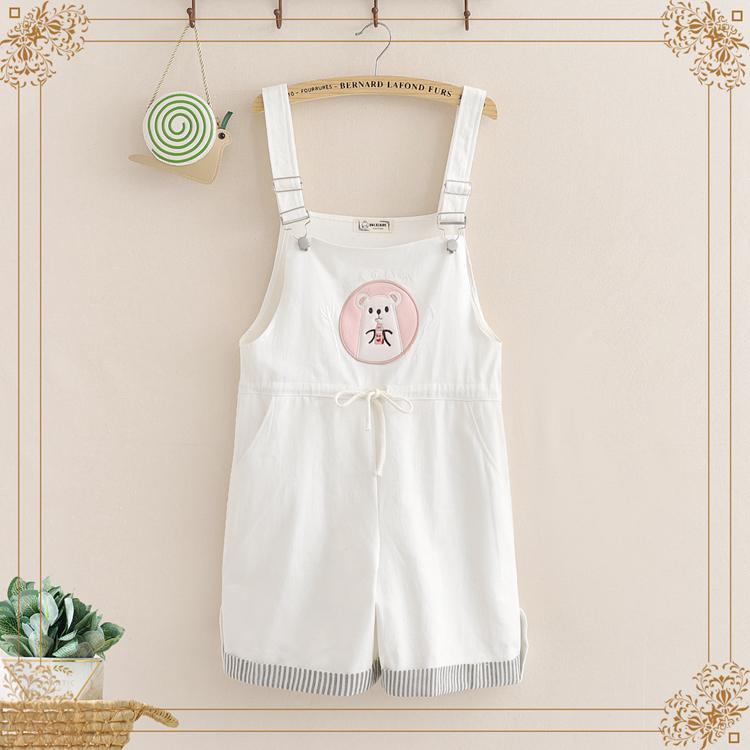 Kawaii Embroidery Elastic Waist Casual Rompers