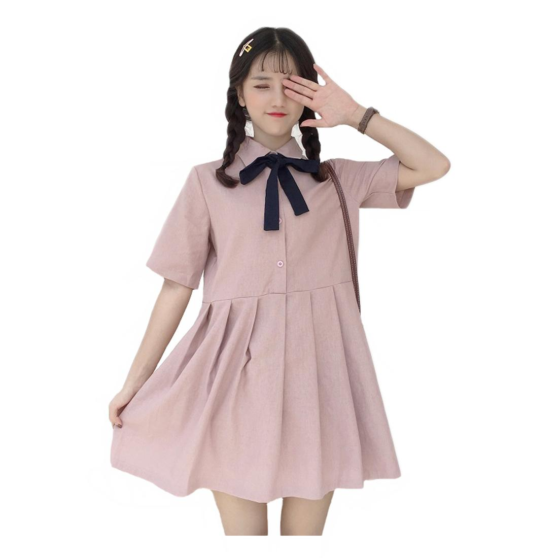 Women Mini Dresses Lovely Bow Short Sleeve Casual Loose Pleated  Dresses