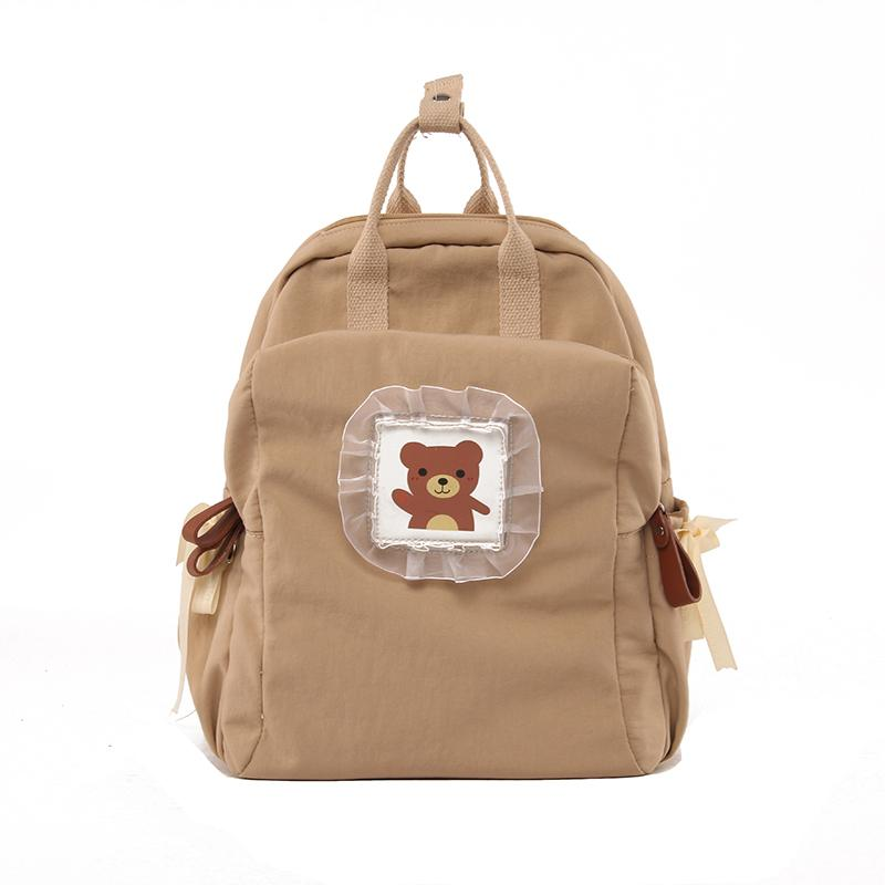 Girls Japanese Style Cute Bear Canvas Backpack