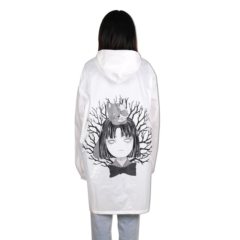 Women Cute Anime Printed Portable Thin Waterproof  Windbreaker
