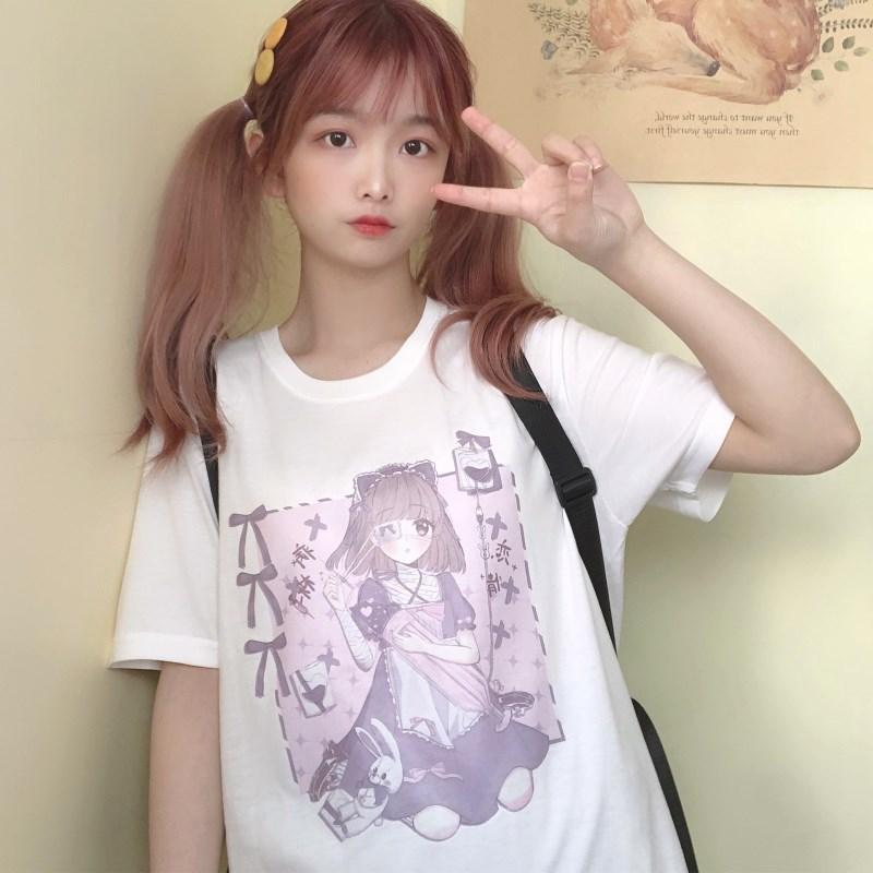 Lolita  Solf Girl Anime Print Cotton T-shirt