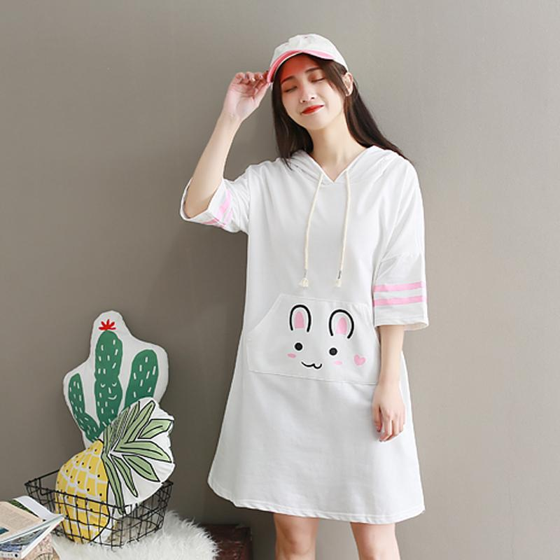Teen Girls Cute Bunny Printed Half Sleeve Hoodie