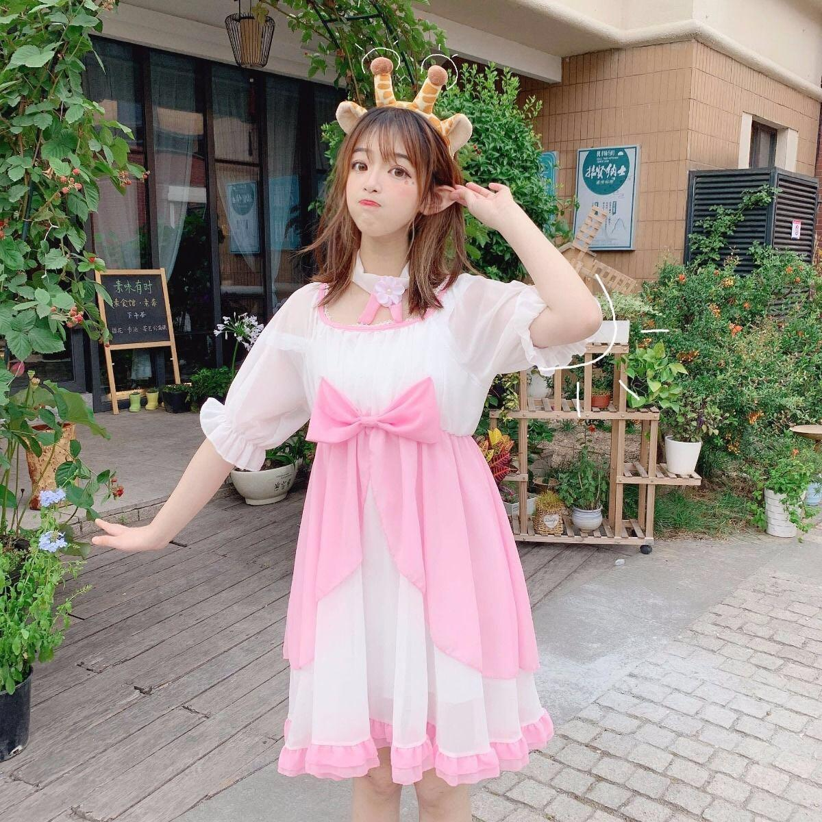 Solf Girl Lolita Bow Half Sleeve Chiffon Daily Dress